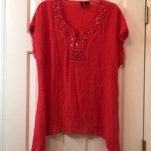 Women's crop sleeve top with sequin neck line